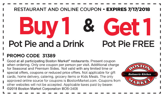 Boston Market Coupon December 2018 Second pot pie free today at Boston Market restaurants