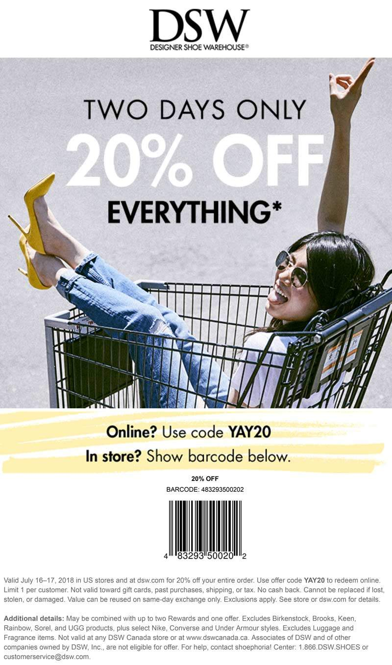 DSW.com Promo Coupon 20% off everything today at DSW, or online via promo code YAY20