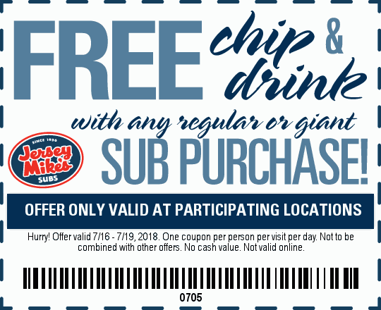 JerseyMikes.com Promo Coupon Free chips & drink with your sub sandwich at Jersey Mikes