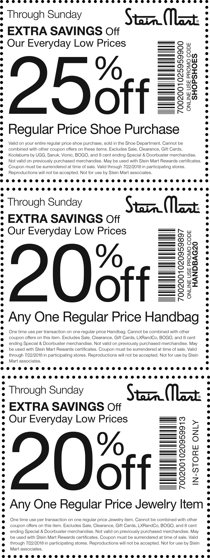 SteinMart.com Promo Coupon 25% off shoes & more at Stein Mart, or online via promo code SHOPSHOES