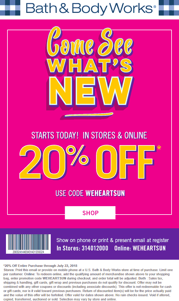 Bath&BodyWorks.com Promo Coupon 20% off at Bath & Body Works, or online via promo code WEHEARTSUN