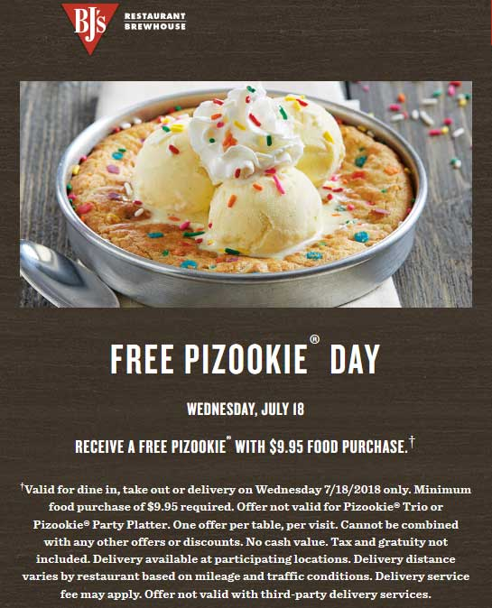 BJsRestaurant.com Promo Coupon Free pizookie today with $10 spent at BJs Restaurant