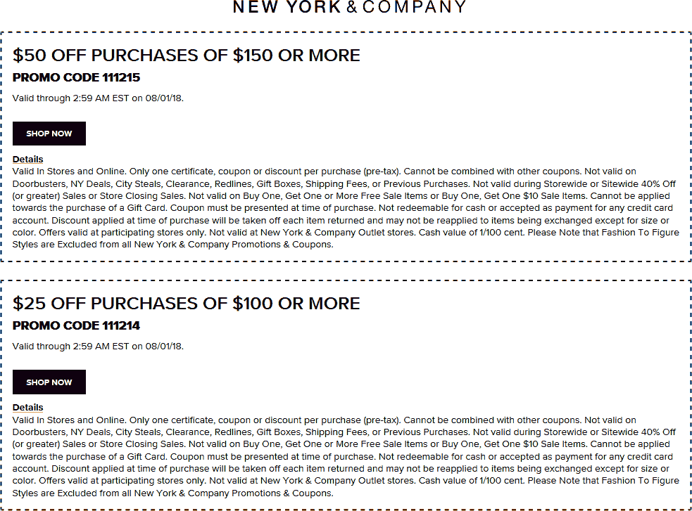 NewYork&Company.com Promo Coupon $25 off $100 & more at New York & Company, or online via promo code 111214
