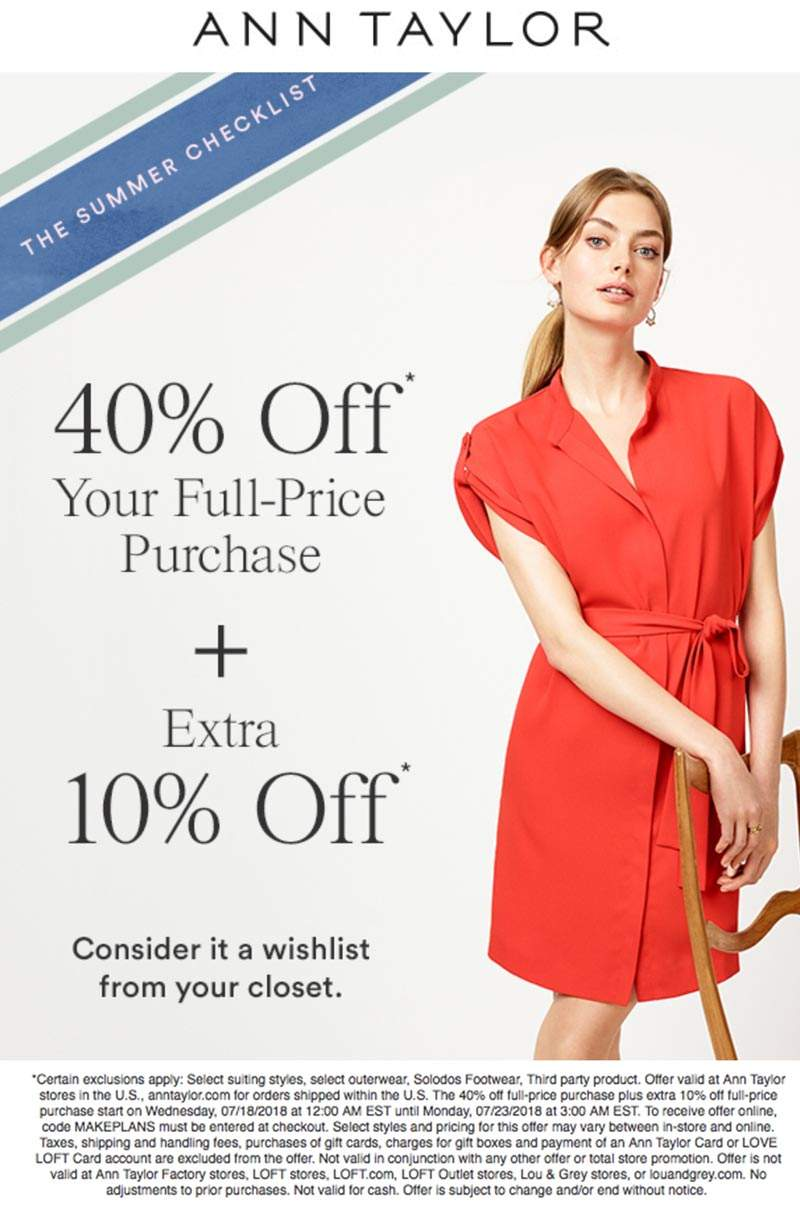 AnnTaylor.com Promo Coupon 50% off at Ann Taylor, or online via promo code MAKEPLANS