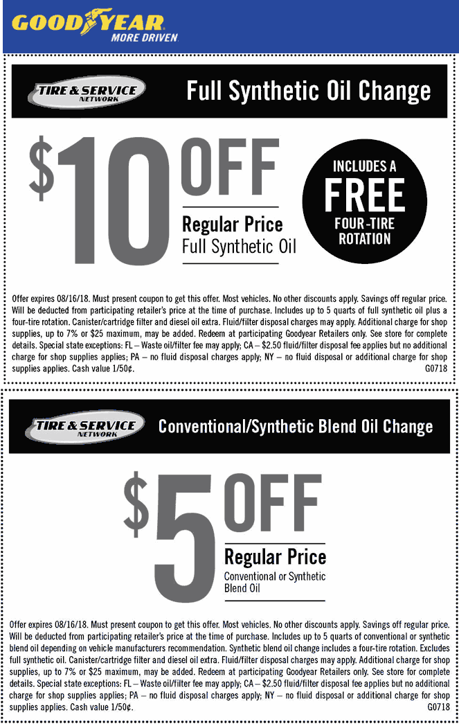 Goodyear Coupons 5 Off More On An Oil Change At Goodyear