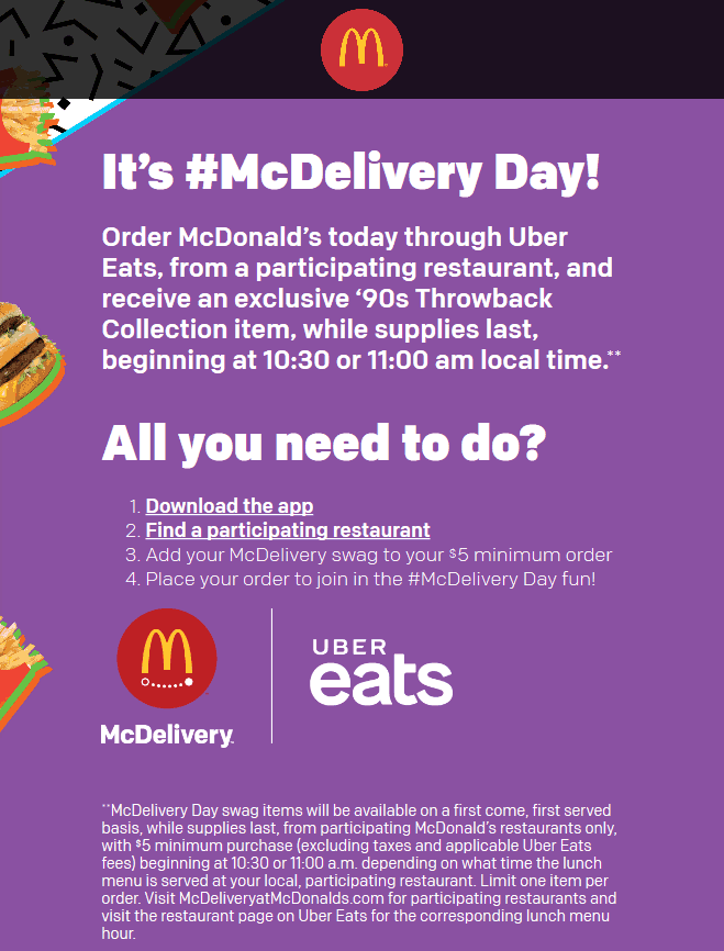 McDonalds.com Promo Coupon Free t-shirt with your meal delivery today at McDonalds