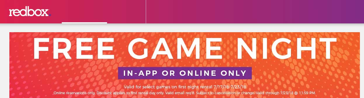 Redbox.com Promo Coupon Free game rental online at Redbox, no code needed