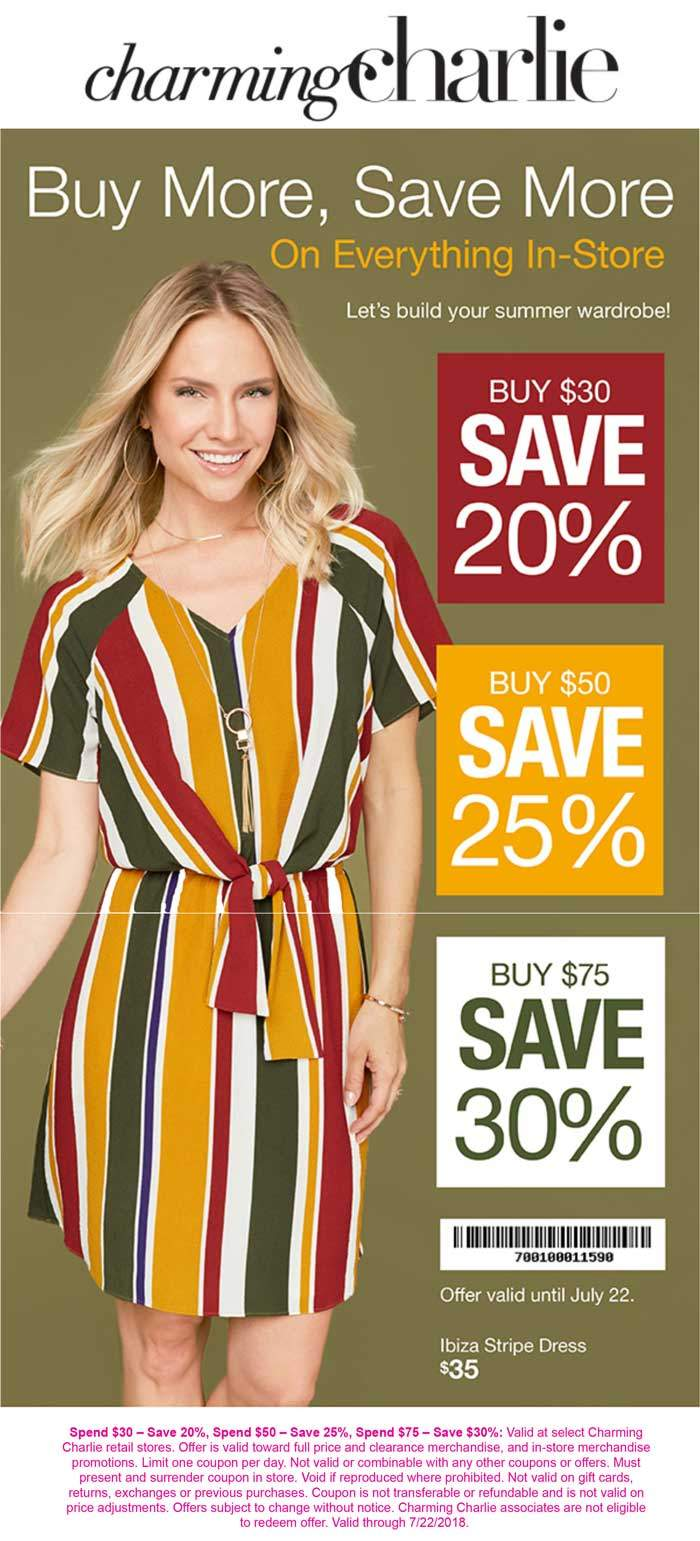 Charming Charlie Coupon August 2018 20-30% off $30+ at Charming Charlie