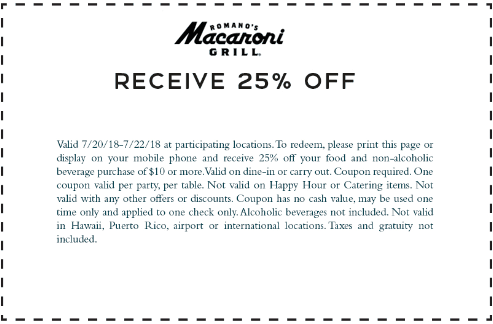 MacaroniGrill.com Promo Coupon 25% off at Macaroni Grill restaurants