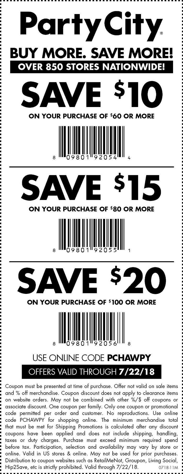 PartyCity.com Promo Coupon $10 off $60 & more at Party City, or online via promo code PCHAWPY