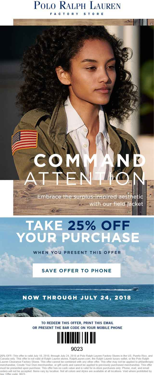 Polo Ralph Lauren Factory Coupon August 2018 25% off at Polo Ralph Lauren Factory