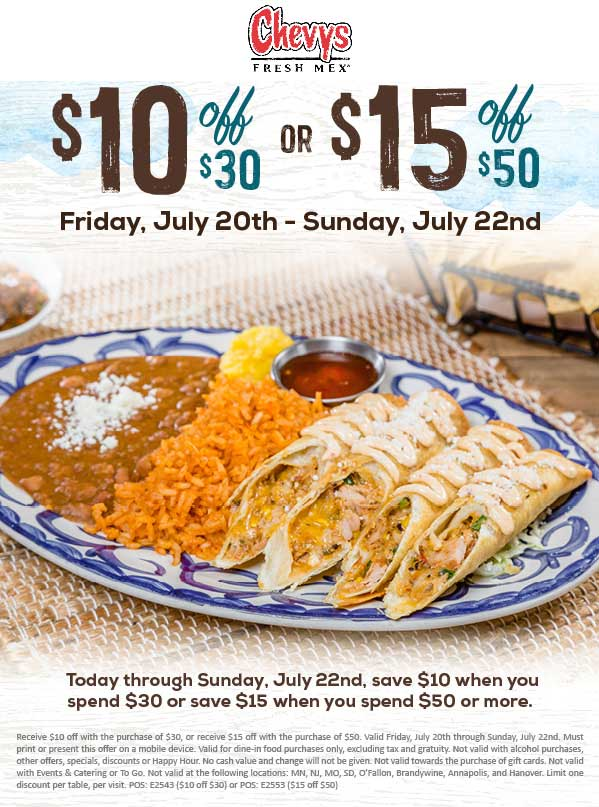 Chevys.com Promo Coupon $10 off $30 at Chevys Fresh Mex restaurants