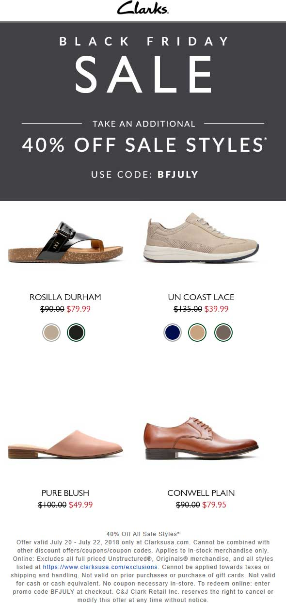 Clarks Coupon March 2019 Extra 40% off sale items online at Clarks via promo code BFJULY