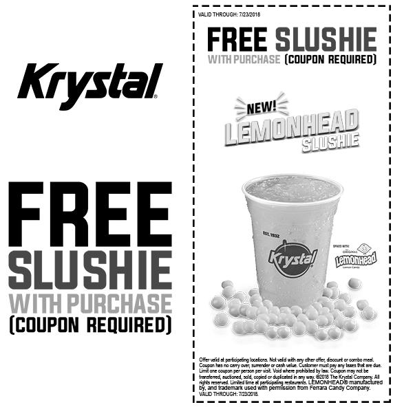 Krystal Coupon October 2018 Free slushie with your order at Krystal restaurants