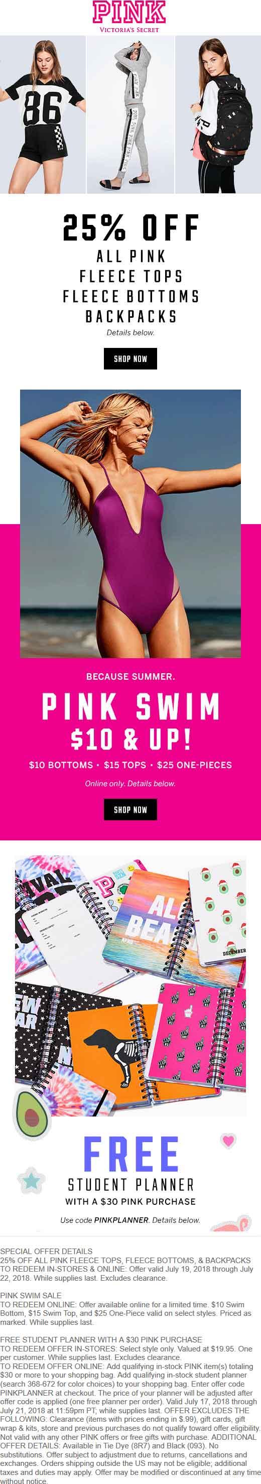 VictoriasSecret.com Promo Coupon 25% off fleece & backpacks + more at Victorias Secret PINK, ditto online