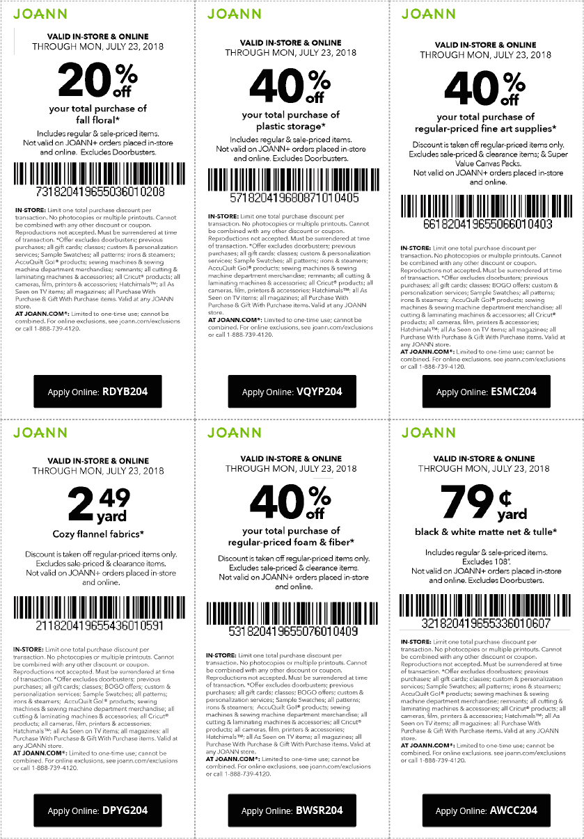 Joann Coupons - 40% off a single item at Joann, or online via promo ...