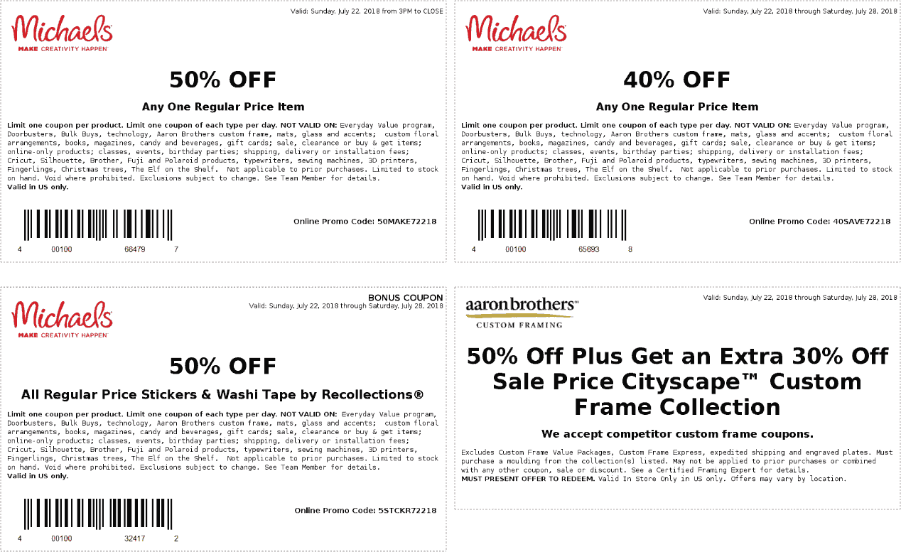 Michaels.com Promo Coupon 40% off a single item & more at Michaels, or online via promo code 40SAVE72218