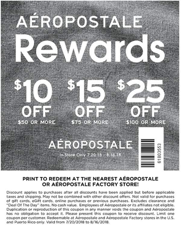 Aeropostale Coupon July 2019 $10 off $50 & more at Aeropostale