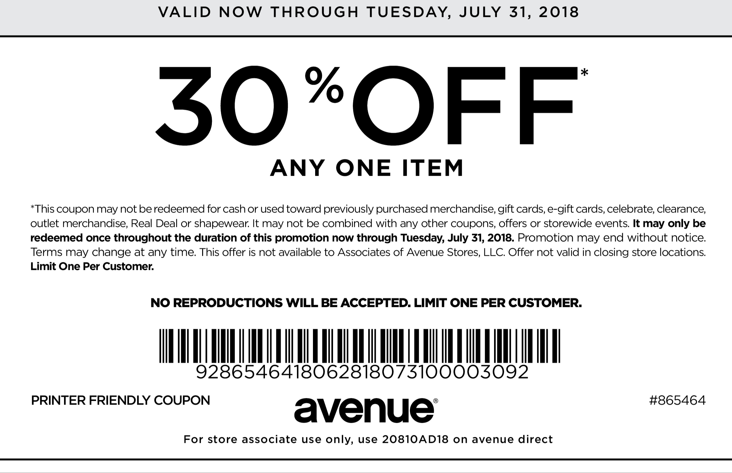 Avenue.com Promo Coupon 30% off a single item at Avenue
