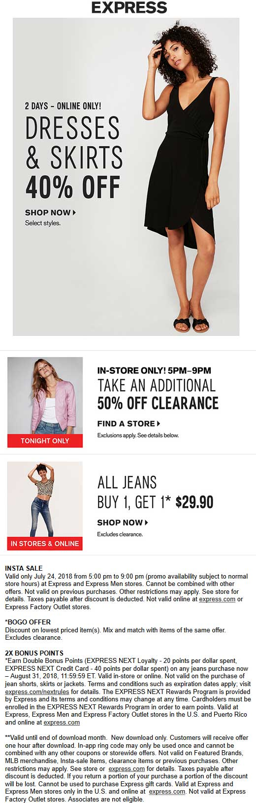 Express Coupon March 2019 Extra 50% off clearance 5-9p today at Express