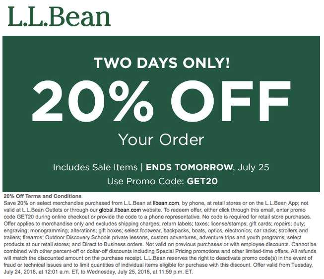 L.L.Bean Coupon December 2018 20% off today at L.L.Bean, or online via promo code GET20