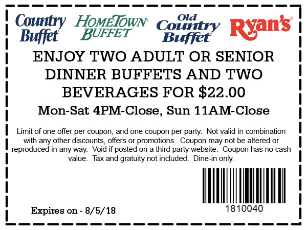 Hometown Buffet Coupon August 2018 Two buffets + 2 drinks = $22 at Ryans, HomeTown Buffet & Old Country Buffet