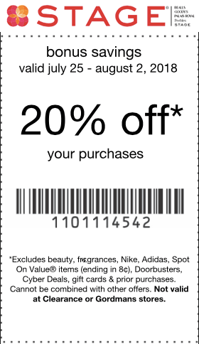 Stage.com Promo Coupon 20% off at Stage stores