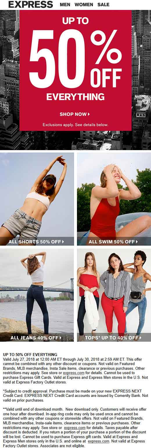 Express.com Promo Coupon Extra 50% off clearance & more today at Express, ditto online