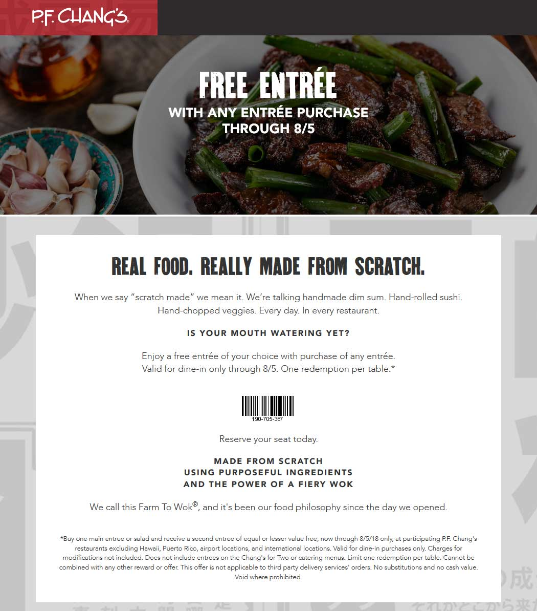 P.F. Changs Coupon December 2018 Second entree free at P.F. Changs