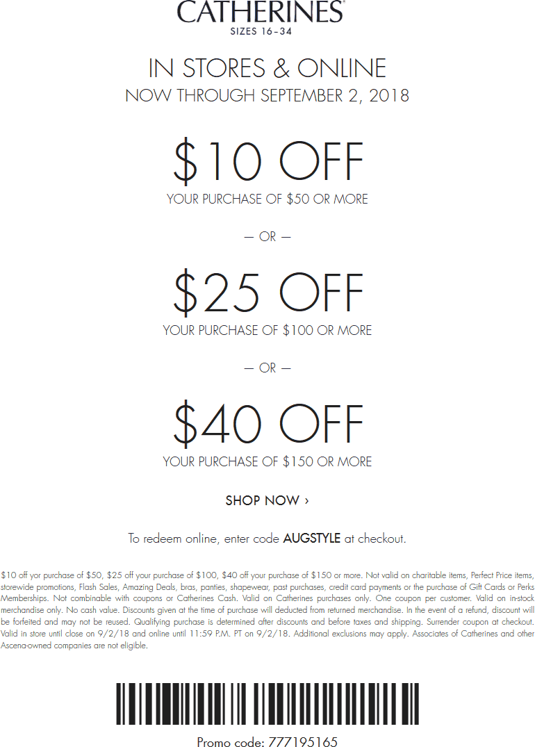 Catherines Coupon October 2018 $10 off $50 & more at Catherines, or online via promo code AUGSTYLE