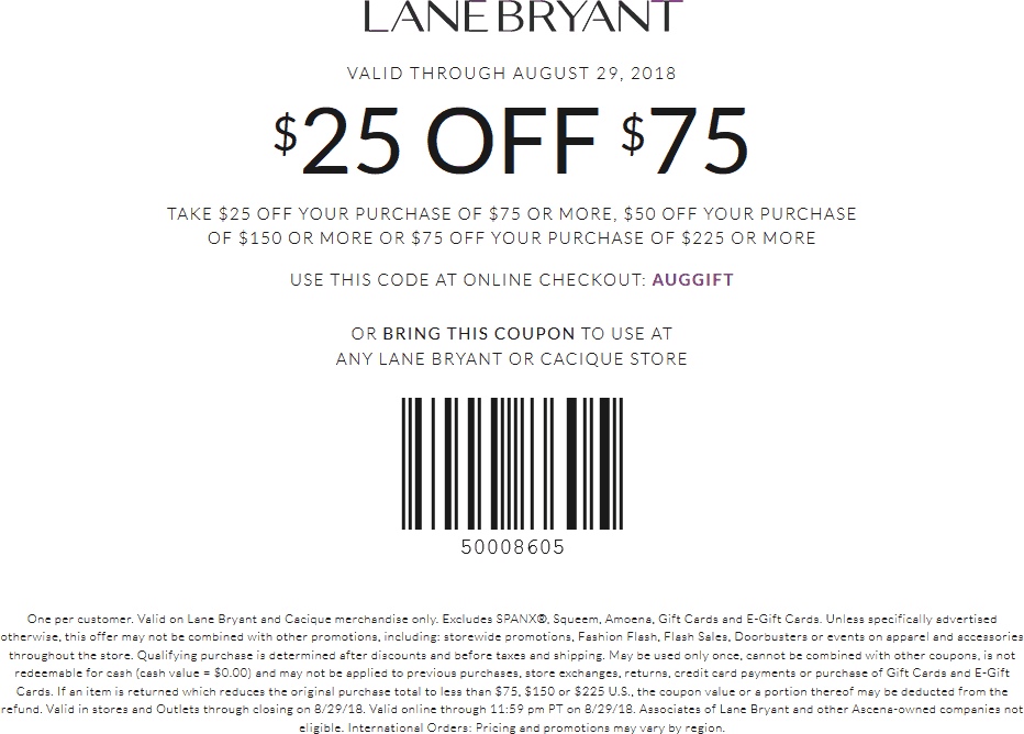 Lane Bryant Coupon March 2019 $25 off $75 & more at Lane Bryant, or online via promo code AUGGIFT