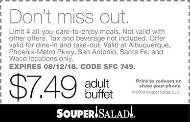 Souper Salad Coupon October 2018 $7.49 bottomless buffet at Souper Salad restaurants