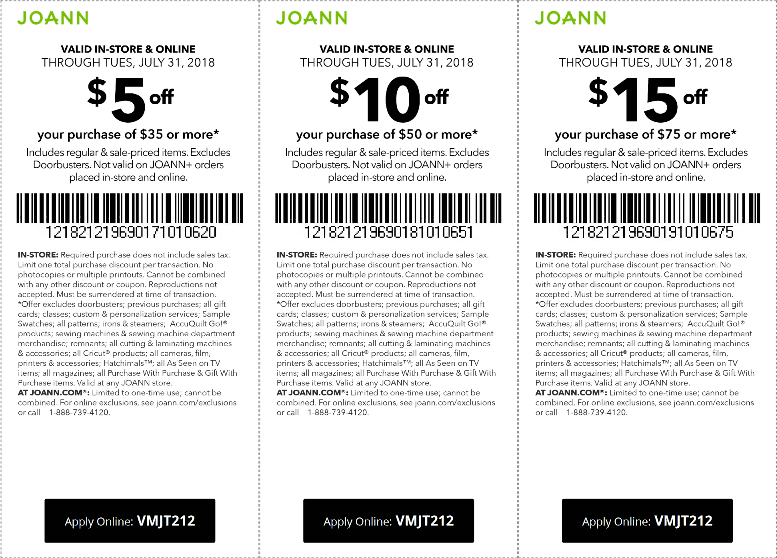 Joann Coupon August 2018 $5 off $35 & more at Joann, or online via promo code VMJT212