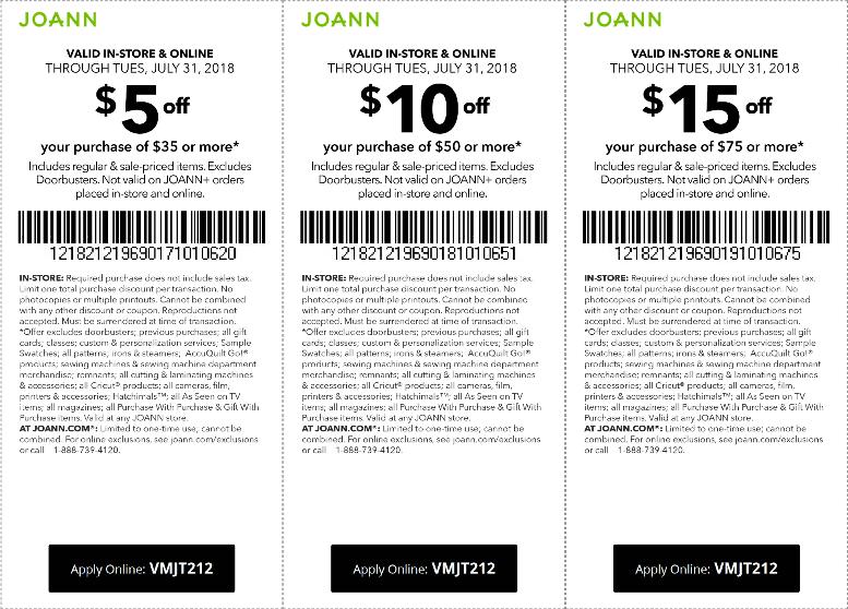 Joann Coupon December 2018 $5 off $35 & more at Joann, or online via promo code VMJT212