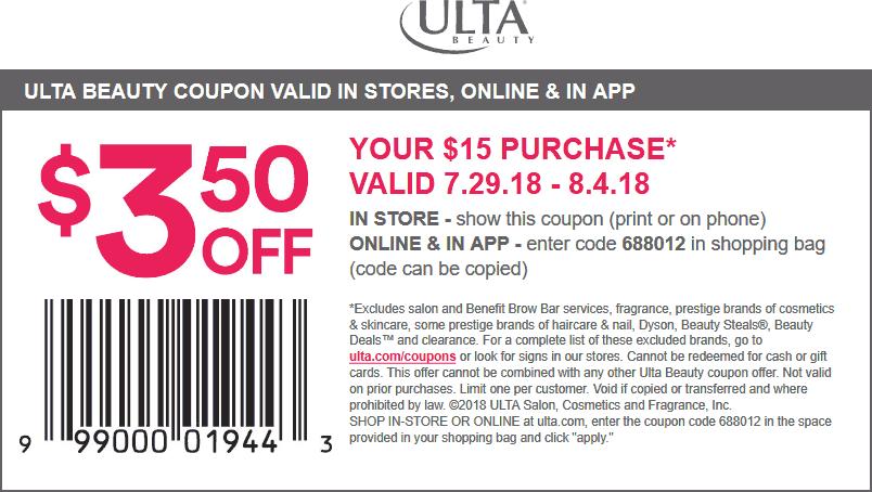 Ulta.com Promo Coupon $3.50 off $10 at Ulta Beauty, or online via promo code 688012