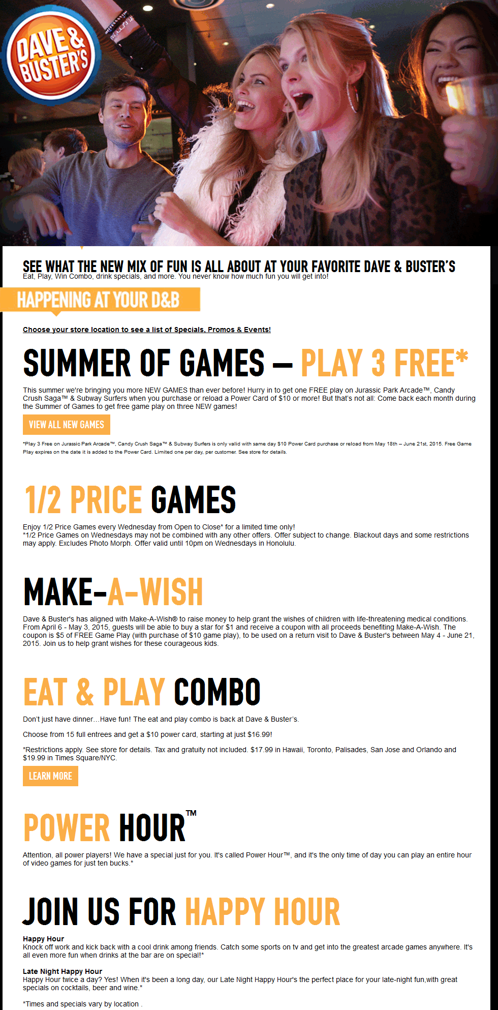 Dave & Busters Coupon February 2018 3 free games with your power card & more at Dave & Busters restaurants