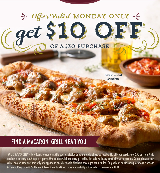 Macaroni Grill Coupon April 2018 $10 off $30 today at Macaroni Grill