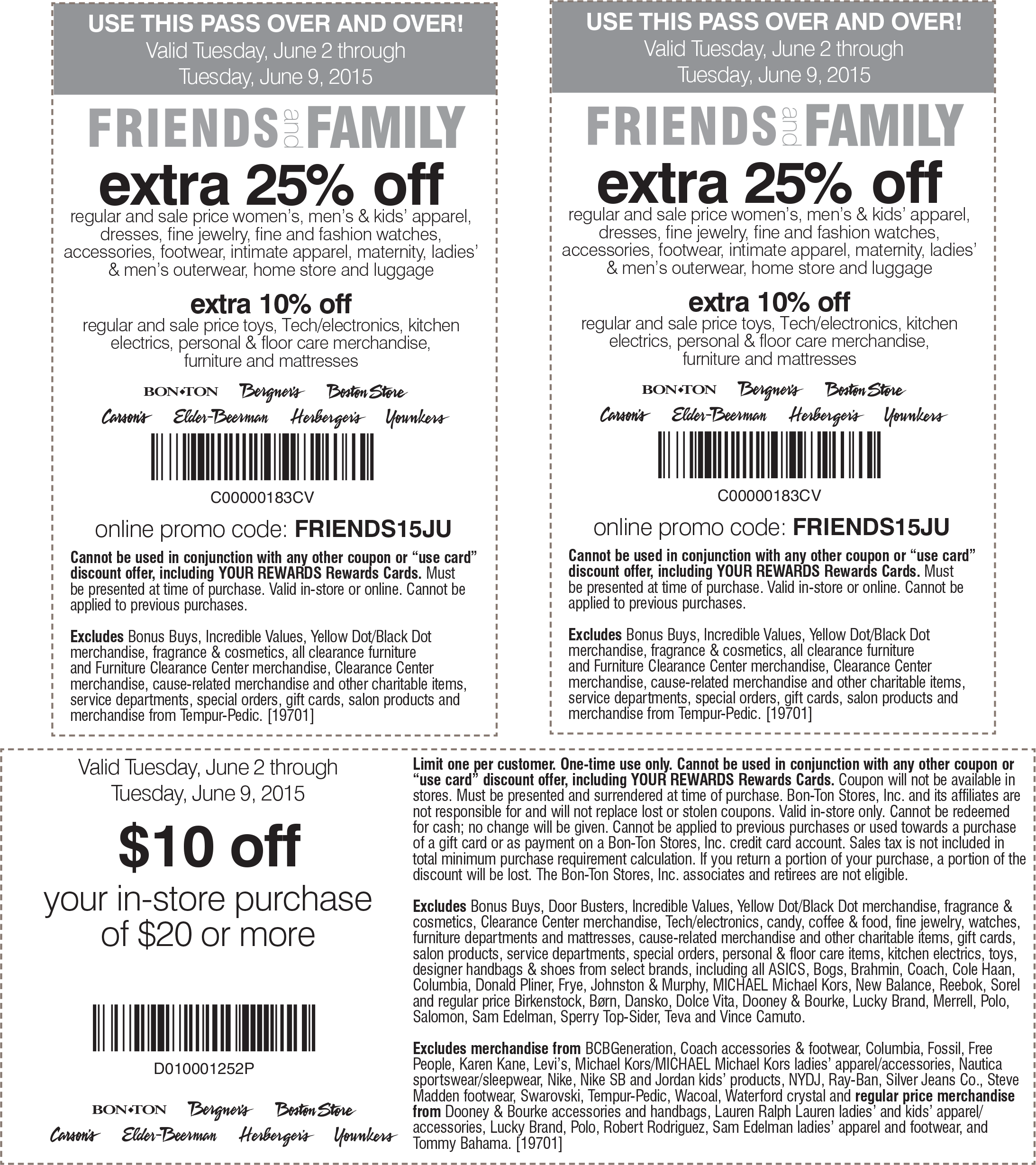 Carsons Coupon April 2019 $10 off $20 & 25% off at Carsons, Bon Ton & sister stores, or online via promo code FRIENDS15JU