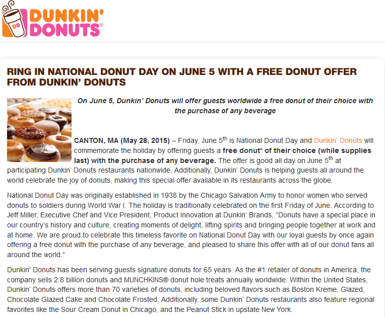 Dunkin Donuts Coupon August 2017 Free doughnut with your drink Friday at Dunkin Donuts