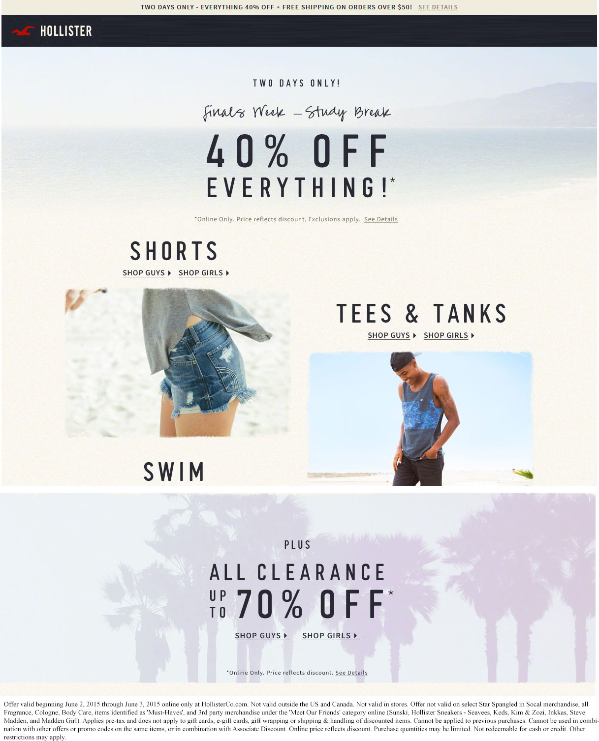 Hollister Coupon September 2017 Everything is 40% off online at Hollister