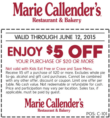 Marie Callenders Coupon March 2017 $5 off $20 at Marie Callenders restaurants