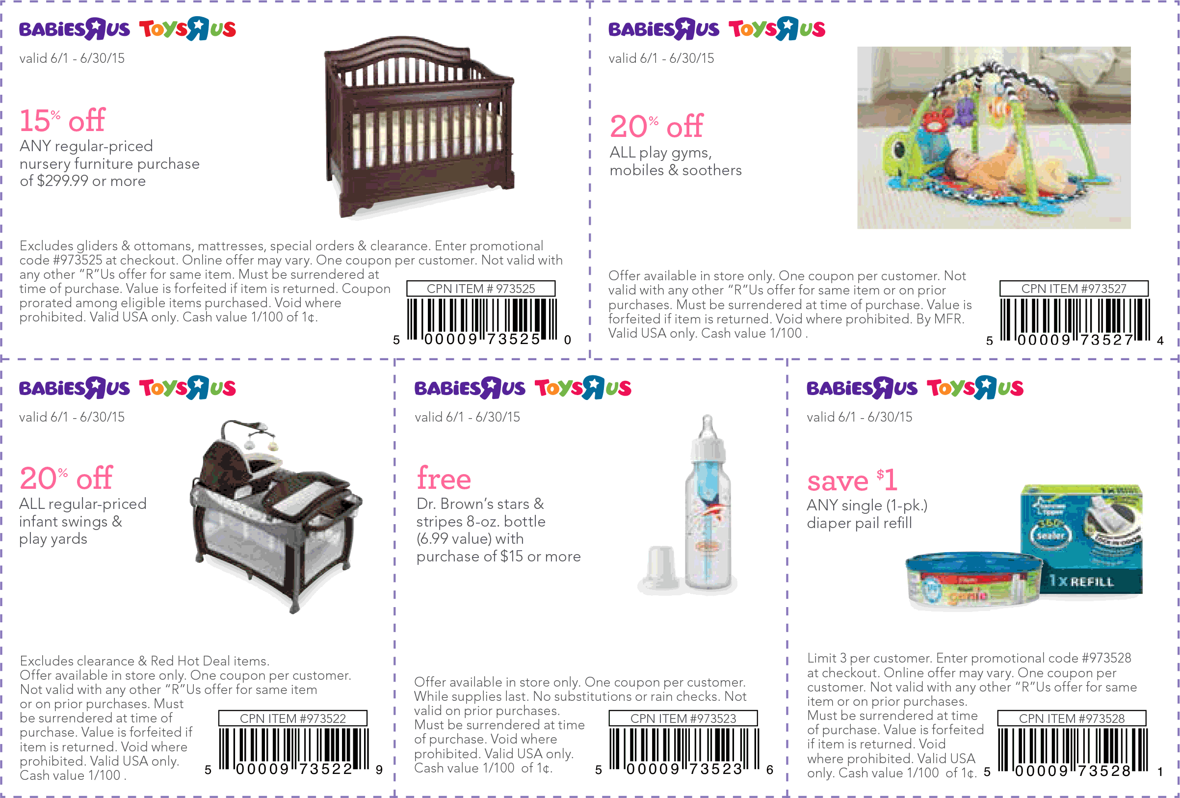 Babies R Us Coupon April 2019 15% off various baby items & furniture at Babies R Us & Toys R Us, or online via promo code 973525