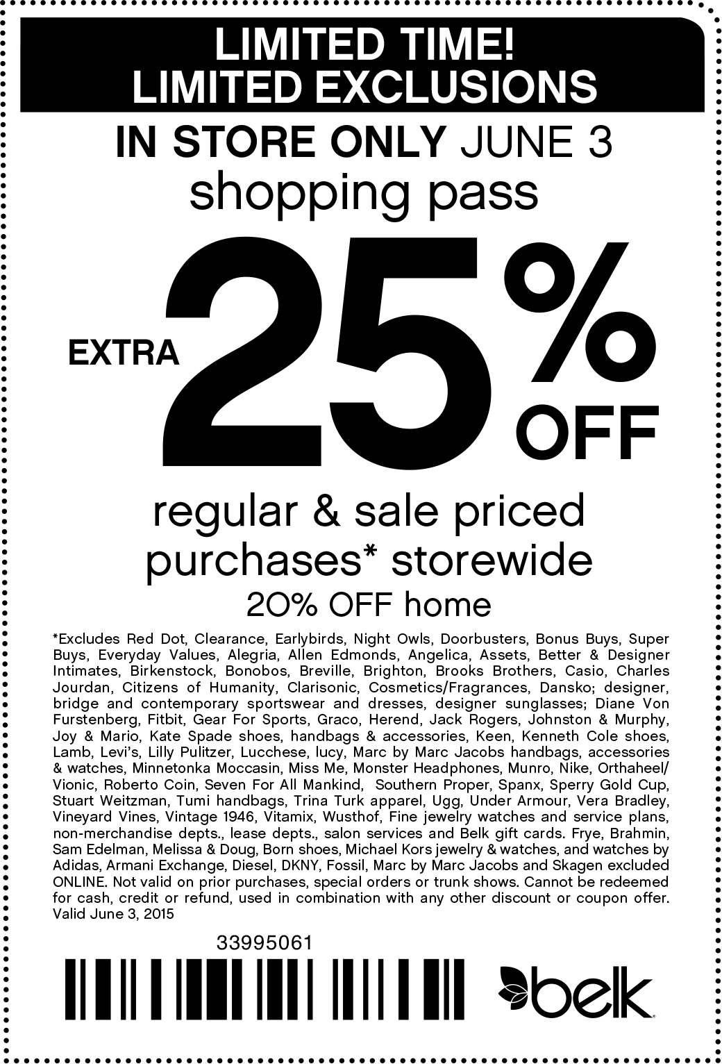 Belk Coupon March 2017 Extra 25% off today at Belk