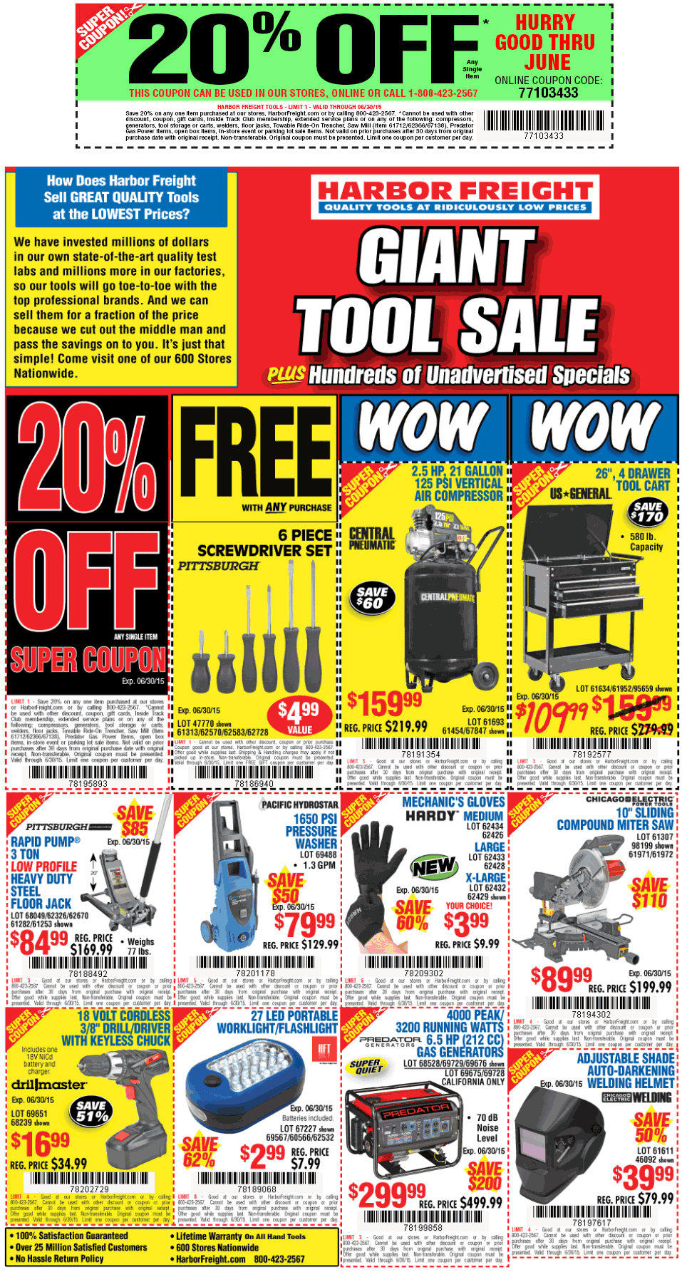 Harbor Freight Coupon November 2017 20% off a single item at Harbor Freight Tools, or online via promo code 77103433