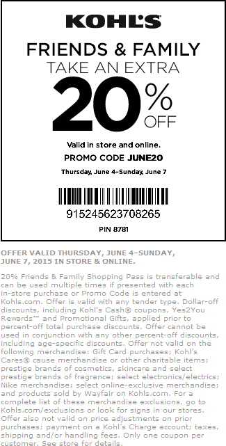 Kohls Coupon July 2017 Extra 20% off at Kohls, or online via promo code JUNE20