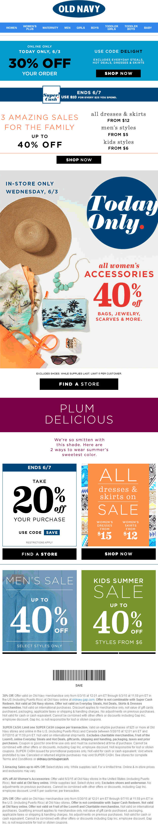 Old Navy Coupon July 2018 40% off womens accessories at Old Navy, or 30% off the tab online via promo code DELIGHT