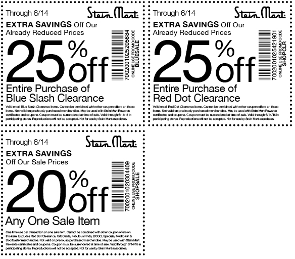 Stein Mart Coupon April 2017 20% off a single sale item & more at Stein Mart, or online via promo code SHOPSALE