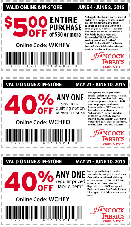 Hancock Fabrics Coupon February 2017 $5 off $30 & more at Hancock Fabrics and crafts, or online via promo code WXHFV
