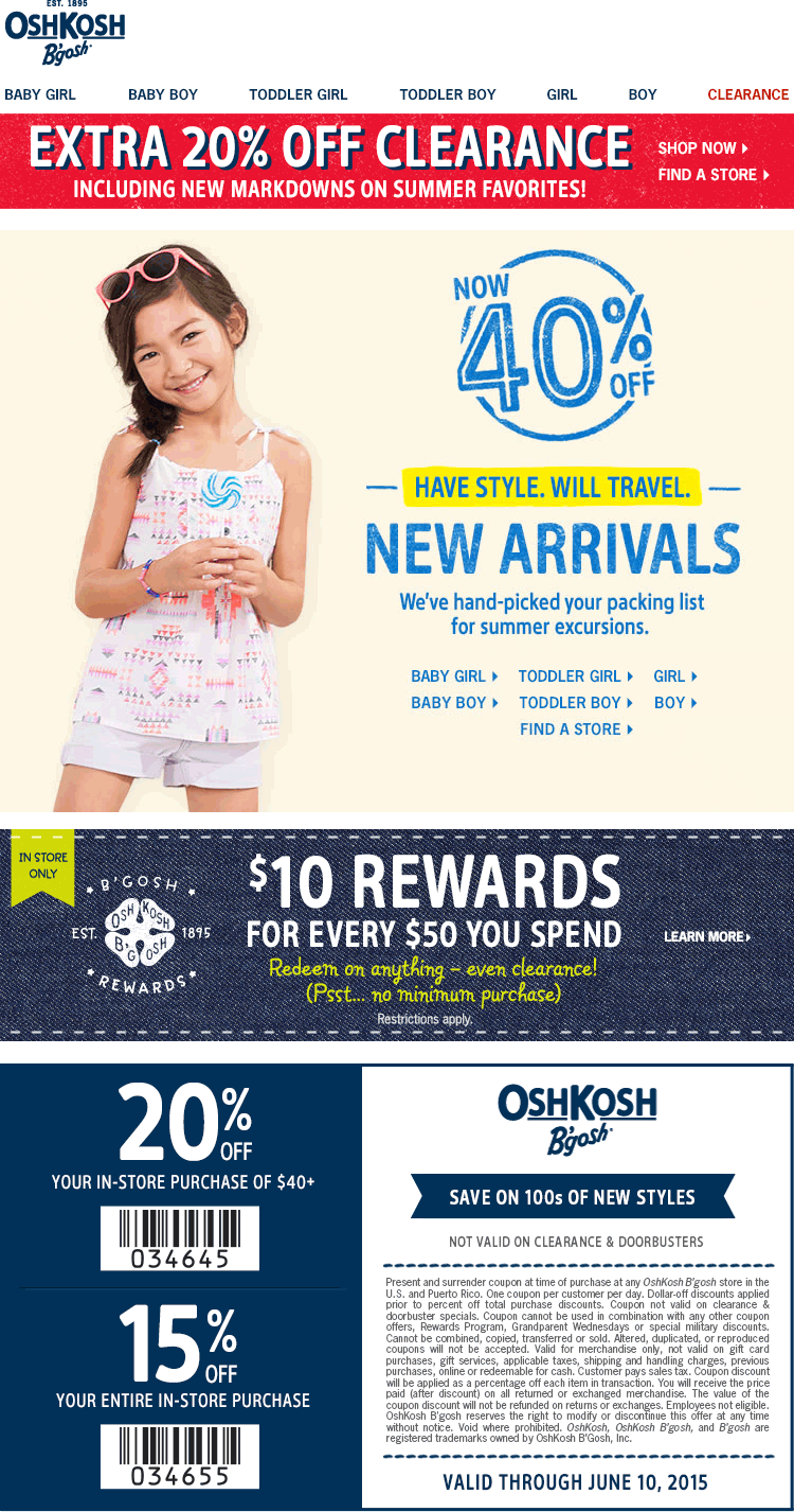OshKosh Bgosh Coupon March 2018 15% off everything, 20% off clearance & more at OshKosh Bgosh