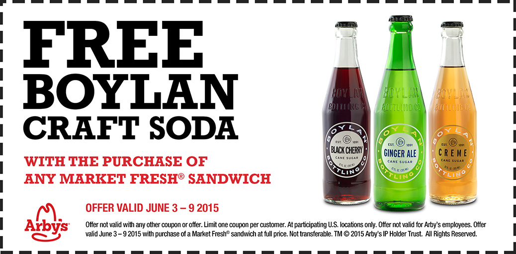 Arbys Coupon October 2016 Free bottle of craft soda with your market sandwich at Arbys